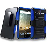 ZTE Prestige 2 Case, ZTE ZFive 2 Case Heavy Duty Armor Shock Proof Dual Layer Holster Locking Belt Swivel Clip with Kick Stand with Goodie (Blue)
