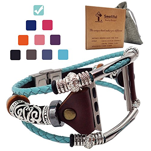 Smatiful Bands for Women, Adjustable Replacement Strap Band for Apple Watch 42mm & 44mm, Turquoise (Teal Green)