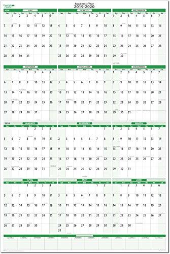 (Earth Green Academic Erasable Wall Calendars by PlanetSafe Calendars (2019-2020 Vertical 24 x 36))