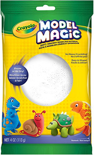 Crayola 57-4401 Model Magic, 4 Ounce No-Mess, Soft, Squishy, Lightweight Modeling Material For Kids, Easy to Paint and Decorate, Air Dries Smooth, -