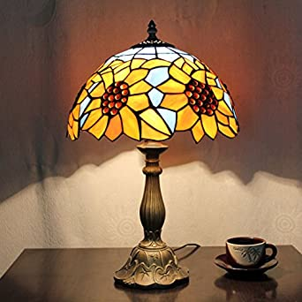 12 inch vintage pastoral sunflower stained glass tiffany for 12 inch bedside table