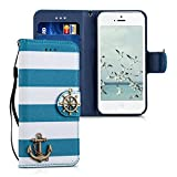 kwmobile Chic synthetic leather case for the Apple iPhone SE / 5 / 5S with convenient stand function - Design anchor in blue white