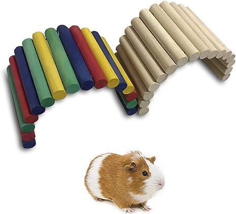 MQUPIN - Puente de escalera de madera para hámster, decoración de jaula, apto para hámsters, cobayas, tortugas, chinchillas, lagartos, loros: Amazon.es: Productos para mascotas