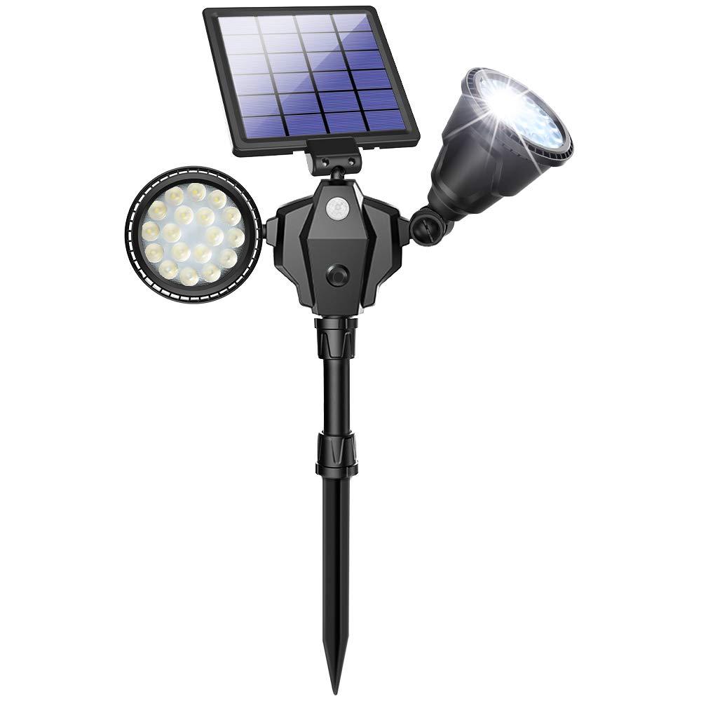 Solar Spot Lights Outdoor 36 LED Landscape Lamps Double Head 1000 Lumens Bright Spotlight Waterproof Flood Lamp with Motion Sensor for Deck Yard Garden Garage Driveway White – 1 Pack