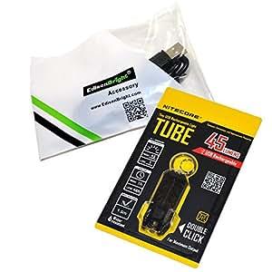Nitecore TUBE (black) 45 lumen USB rechargeable keychain light and EdisonBright brand USB charging cable bundle