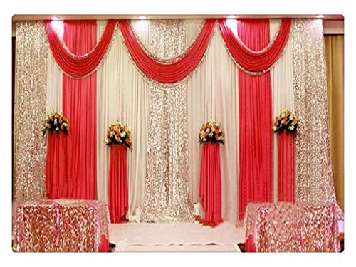 Eyestar Wedding Stage Decorations Backdrop Party Drapes with Swag Silk Fabric Curtain for Wedding/Birthday/Event (Bright Red),20x10ft (Best Wedding Stage Decoration)