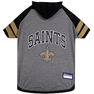 NFL NEW ORLEANS SAINTS HOODIE for DOGS & CATS. | NFL FOOTBALL licensed DOG HOODY Tee Shirt, Medium | Sports HOODY T-Shirt for Pets | Licensed Sporty Dog Shirt.