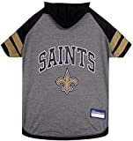NFL New Orleans Saints Hoodie for Dogs & Cats. | NFL Football Licensed Dog Hoody Tee Shirt, Small | Sports Hoody T-Shirt for Pets | Licensed Sporty Dog Shirt. Review