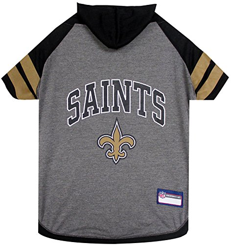 NFL New Orleans Saints Hoodie for Dogs & Cats. | NFL Football Licensed Dog Hoody Tee Shirt, Small | Sports Hoody T-Shirt for Pets | Licensed Sporty Dog Shirt.