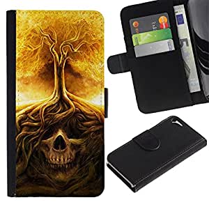 All Phone Most Case / Oferta Especial Cáscara Funda de cuero Monedero Cubierta de proteccion Caso / Wallet Case for Apple Iphone 5 / 5S // Fire Tree Skull Meaning Death Metal