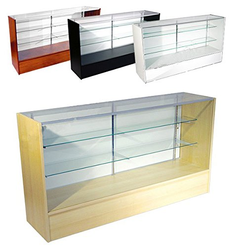 70'' Walnut Color Wooden Full Vision Showcase with Adjustable Glass Shelves by Low Price Fixtures