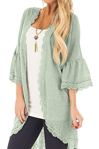Women's Beach Sheer Lace 3/4 Bell Sleeve Cover Up Open Front Plain Summer Kimono Cardigan Green L - Lace Trim Sweater