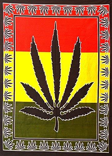 ANJANIYA Marijuana Weed Leaf Tapestry Hempest Ganja Leaves Pot Poster Small Cannabis Hippie Rasta 40x30 inches Bohemian Psychedelic Wall Hanging Art Black Leaf Room Dorm Decor