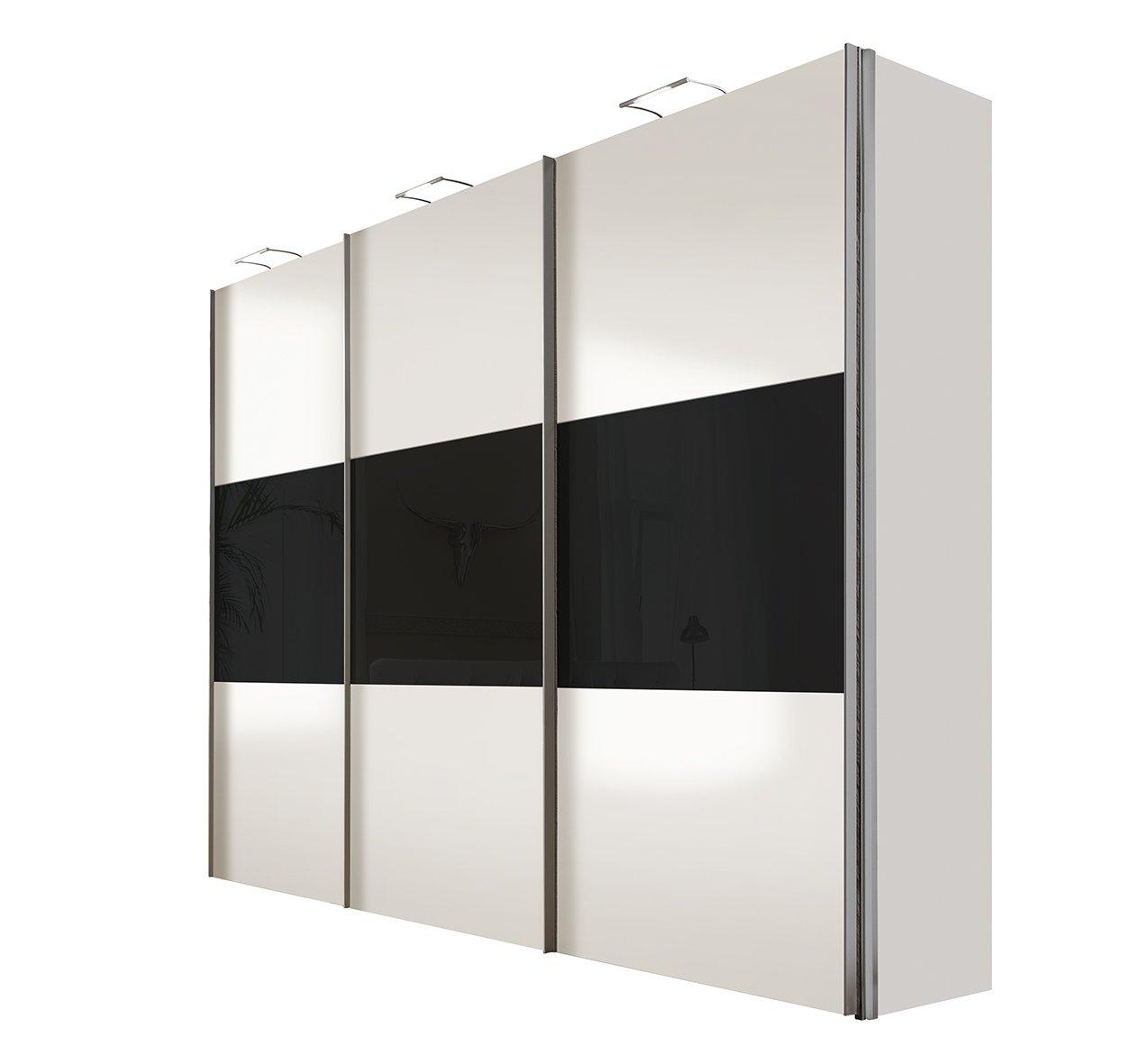 Solutions 46910-321 Schwebetürenschrank 3-türig, Griffleisten Alufarben, Korpus/Front: Polarweiß / Glas-schwarz