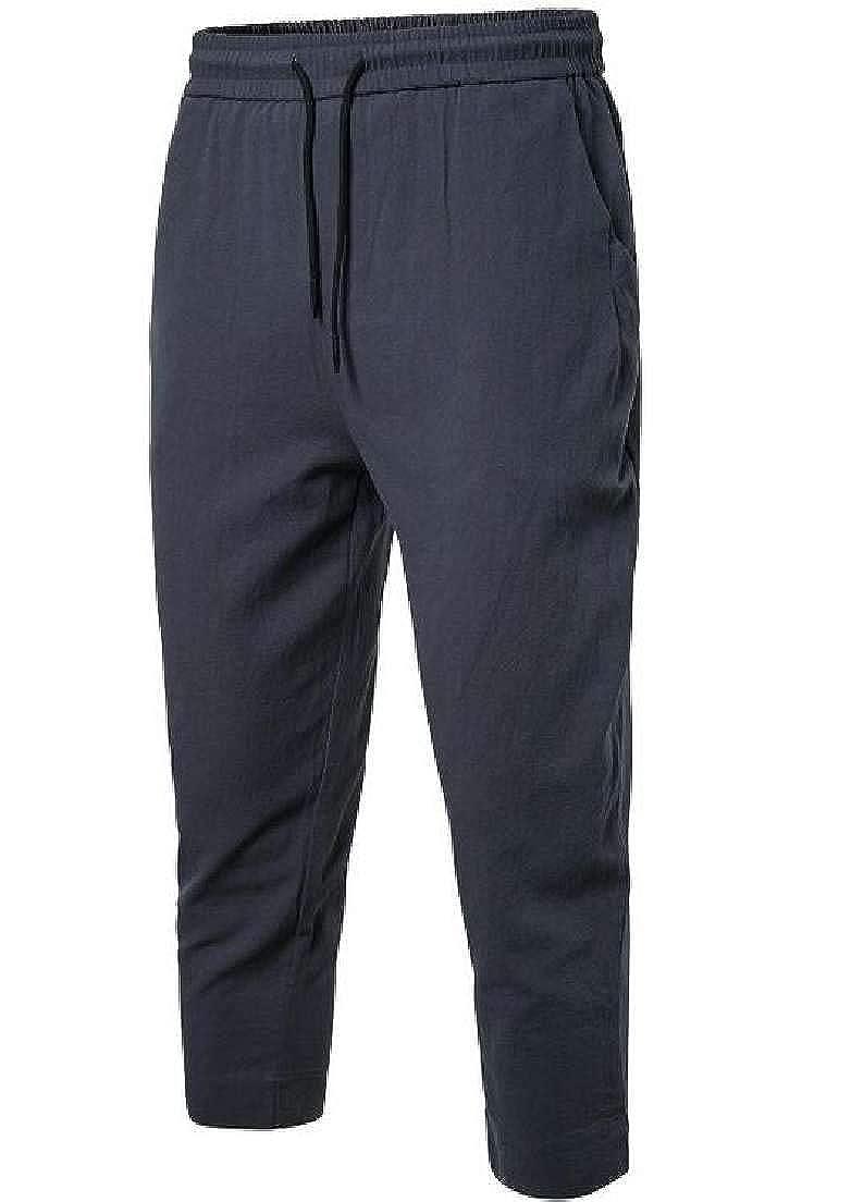 UUYUK Men Big /& Tall Casual Drawstring Solid Pants Trousers