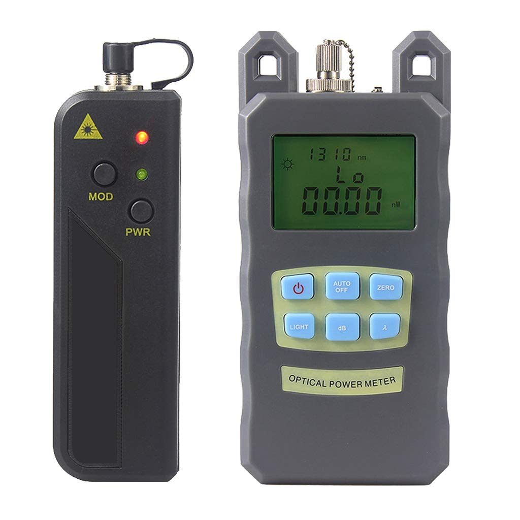Prettyia 1Set Fiber Optic Cable Tester Optical Power Meter with Sc & Fc Connector Fiber Tester +20mW Visual Fault Locator for CATV Test,CCTV Test