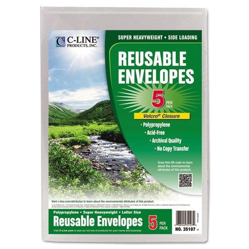 C-Line Reusable Biodegradable Poly Envelopes, Side Loading, Letter Size, Clear, 5 Envelopes per Pack (35107) ()