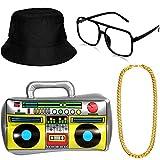 Hip Hop Costume Kit Hat Sunglasses Gold Chain 80s/ 90s Rapper Accessories (Bucket Hat, Boom Box)