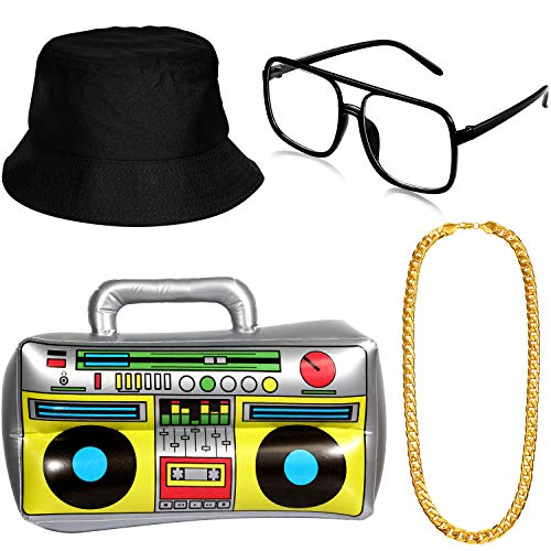 Hip Hop Costume Kit Hat Sunglasses Gold Chain 80s/ 90s Rapper Accessories (Bucket Hat, Boom ()