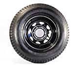 ST225/75R15 LRD 8 PR Rainier ST Radial Trailer Tire on 15'' 6 Lug Black Spoke Trailer Wheel
