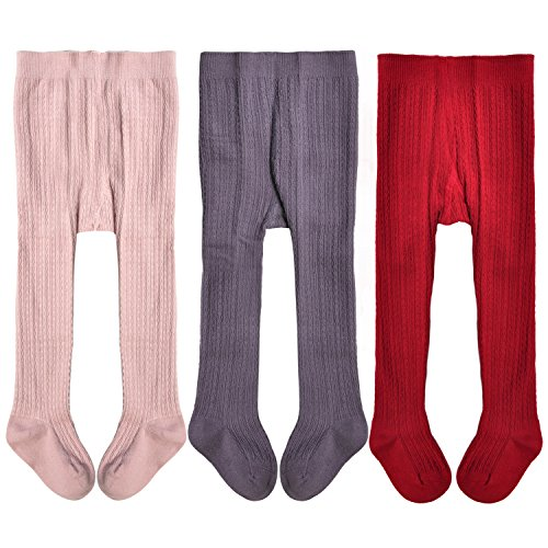 Epeius Toddlers Baby Girls Seamless Cable Knit Solid Cotton Tights for 12-24 Months,Pink/Purple/Red (Pack of 3)