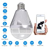 Security Bulb Camera1080P HD Wifi Wireless Network IP Camera with16GB SD Card 360°PanoramicFisheye Lens Night Vision and Two Way Talking Surveillance Monitor by Sorobright