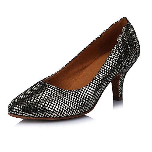 YFF Modern Dance Shoes Ballroom Tango Latin Shoes for Girls Ladies,Gold,4