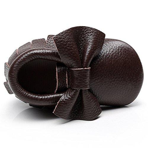 Jamron Bebé Encantador Bowknot Borla Cuna Zapatos Infantil Niñito Suave Suela Zapatillas Prewalker 0-24 Meses Café