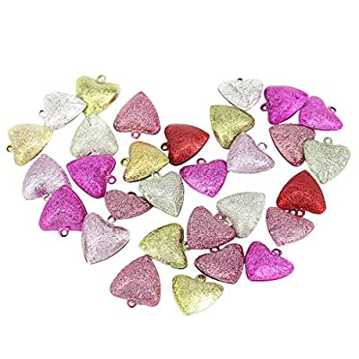 Pack of 30 Assorted Color Stardust Heart Shape Jingle Bells for Craft Supplies 20mm
