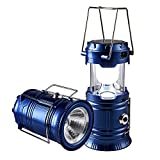 LED Camping Lantern - Solar Rechargeable Camping Lantern & Portable Outdoor Handheld Led Flashlight Emergency Lights; Moonkist (Blue)