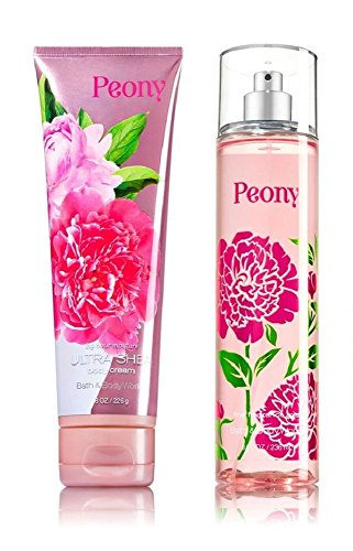 Bath and Body Works Peony 8 Ounce Fragrance Mist and 8 Ounce Body Cream Set -