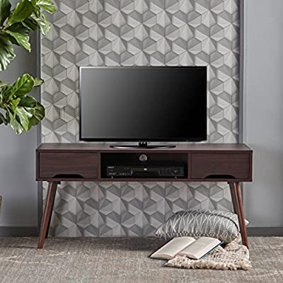 """Christopher Knight Home Frieda Mid-Century Modern Entertainment Center, Walnut Finish - Included Components: Cabinet; Living Room Furniture;Tv Stands/Entertainment Centers; Home-Entertainment-Centers Includes: one (1) TV stand Dimensions: 15. 80""""D x 47. 40""""W x 22. 50""""H - tv-stands, living-room-furniture, living-room - 51y33J3YcuL. SS400  -"""
