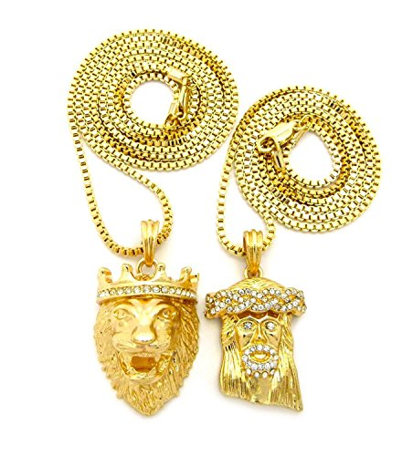 MENS HIP HOP JESUS LION KING PRAYING ANGEL MEDUSA PENDENT BOX CHAIN NECKLACE SET OF 2 (Lion Jesus)