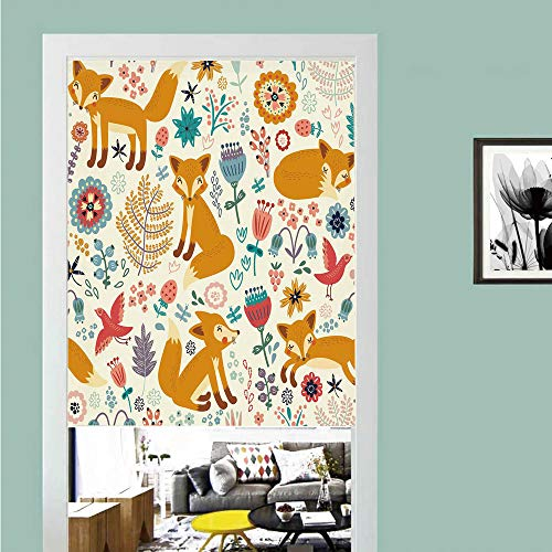 ckers Door Curtain,Fox,Natural Wildlife Composition with Cute Foxes Ornate Flowers Flying Birds Kids Nursery,Multicolor ,Privacy Protect for Kitchen,Bathroom,Bedroom(1 Panel) ()