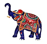 """BIG CHRISTMAS SALE - Elephant Decor 5.1"""" Large Trunk-Up Elephant Good Luck Sculpture Metal Figurine with Meenakari Work Home Decorative Statue ( Apx - 1 Pound Weight )"""