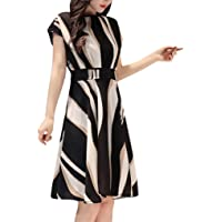 Woman Stripe Sleeveless Midi Length Dresses Casual Comfy Party Tube Top Dresses Office Lady Formal Dresses with Belt