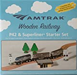 Amtrak Wooden Train P42 Superliner Set Compatible with Other Railroads w/Station-Track & Signs