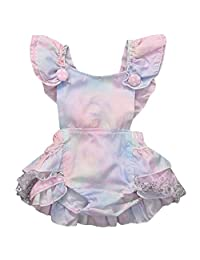 Inflant Baby Girls Clothing Gradient Ruffle Cross Back Bow Romper Jumpsuit