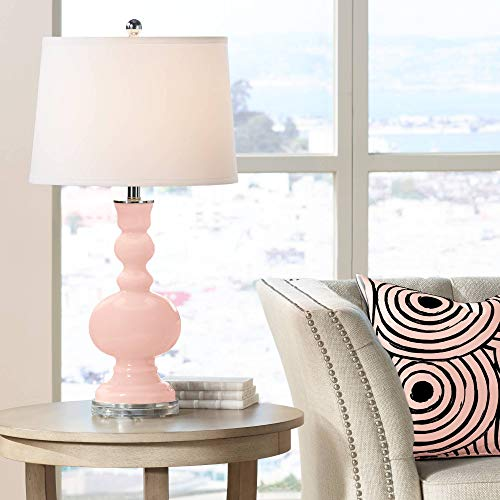Modern Table Lamp Rose Pink Glass Apothecary White Linen Drum Shade for Living Room Family Bedroom Bedside Nightstand – Color Plus