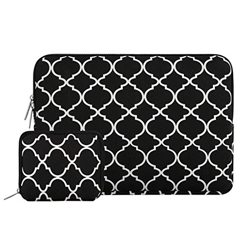MOSISO Laptop Sleeve Bag Compatible 15-15.6 Inch MacBook Pro, Notebook Computer with Small Case, Canvas Geometric Pattern Protective Carrying Cover, Black ()