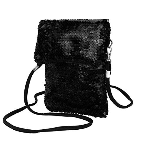 Girls Handbags, squarex Fashion Outdoor Solid Color Sequins Handbag Shoulder Bag Tote Ladies Purse Black