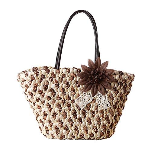 TININNA Frauen Sommer Mode Blumen Stroh Tasche Urlaub Strand Schultertasche Einkaufstasche Reisetasche (Armeegrün) Braun