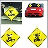 Twin Pack Child On Board Sign Baby Suction Cup Vehicle Car Driving Safety Bright