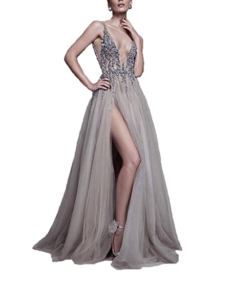 hiprom thigh split evening party dress plunging neckline appliques