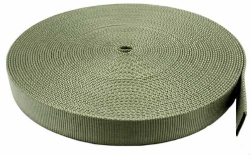 Country Brook Design 1 Inch Olive Drab Green Tubular Nylon Webbing, 10 Yards ()