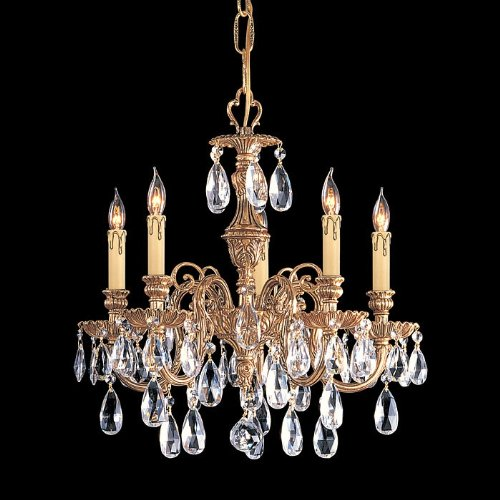 Crystorama Lighting 2905-OB-CL-MWP Chandelier with Hand Polished Crystals, Olde Brass