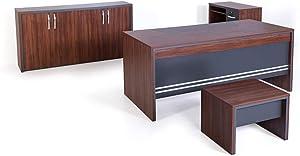 "Casa Mare 71"" Rustic Brown & Black 4 Pieces Modern Home Office Furniture Set Executive Desk(Arya)"