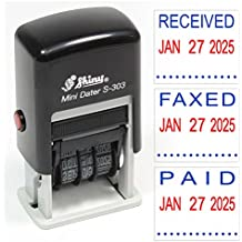 Shiny S-303 Self-Inking 2-Color Rubber Date Stamp - PAID, FAXED, RECEIVED or SCANNED - Customize Message Online