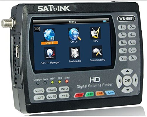 SATLINK WS-6951 Fully DVB-S&DVB-S2 FTA Digital Satellite Finder Meter Satellite TV Received with MPEG-2&MPEG-4,QPSK,8PSK (Can not Supports Turbo 8PSK) by SatLink