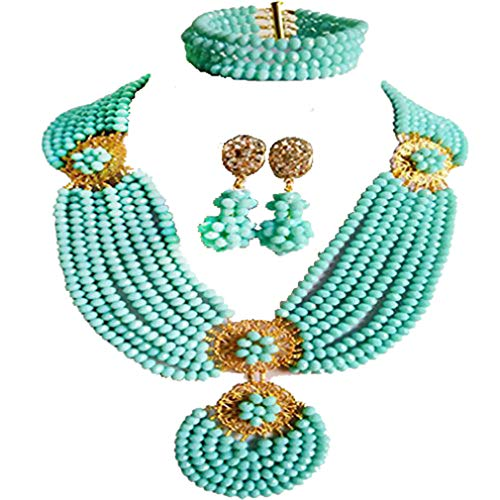 (laanc 8Layers 45cm African Beads Nigerian Wedding Princess Necklace Bracelet Earrings Party Jewelery Sets)